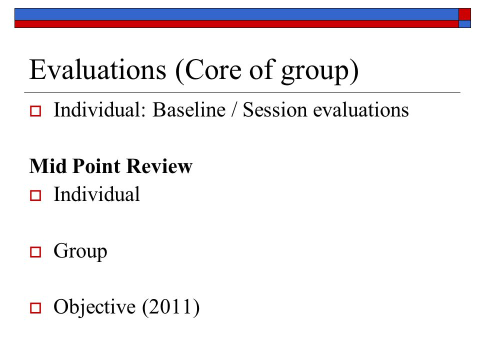 Evaluations (Core of group)  Individual: Baseline / Session evaluations Mid Point Review  Individual  Group  Objective (2011)