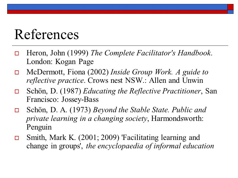 References  Heron, John (1999) The Complete Facilitator's Handbook. London: Kogan Page  McDermott, Fiona (2002) Inside Group Work. A guide to reflec