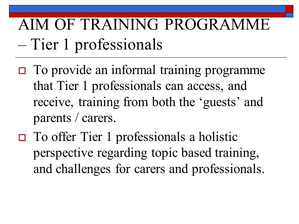 AIM OF TRAINING PROGRAMME – Tier 1 professionals  To provide an informal training programme that Tier 1 professionals can access, and receive, traini