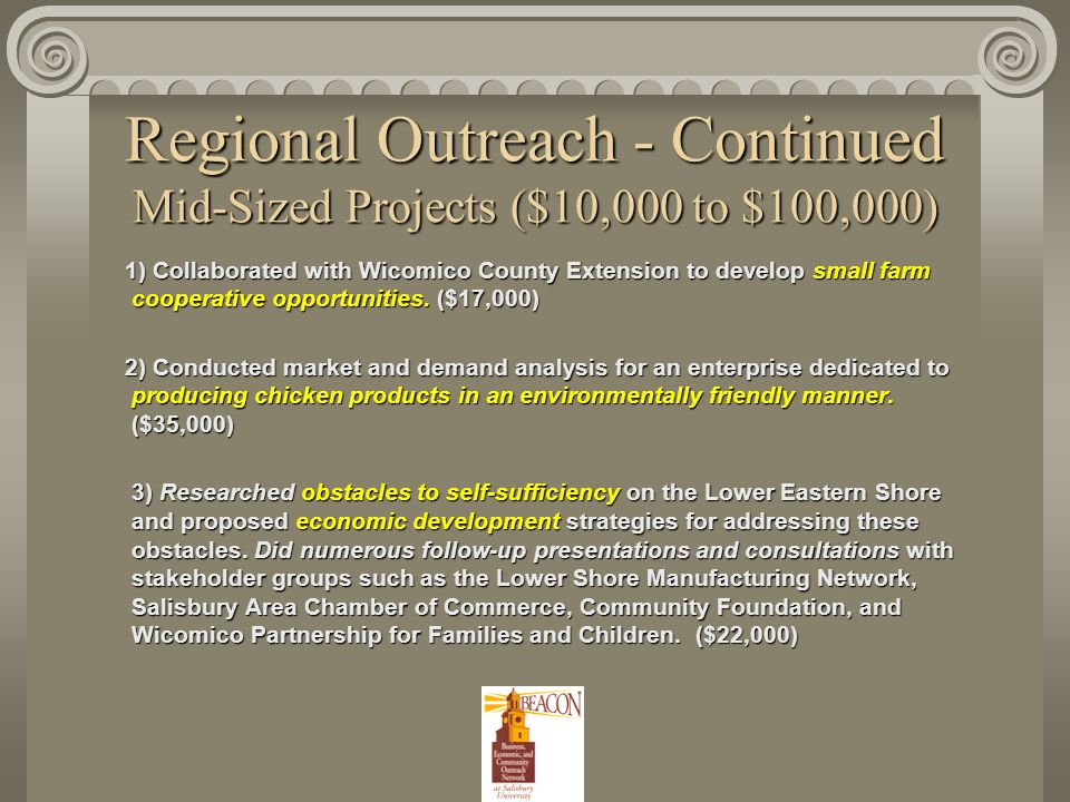 Regional Outreach - Continued Mid-Sized Projects ($10,000 to $100,000) 1) Collaborated with Wicomico County Extension to develop small farm cooperative opportunities.