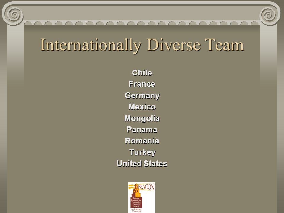 Internationally Diverse Team ChileFranceGermanyMexicoMongoliaPanamaRomaniaTurkey United States