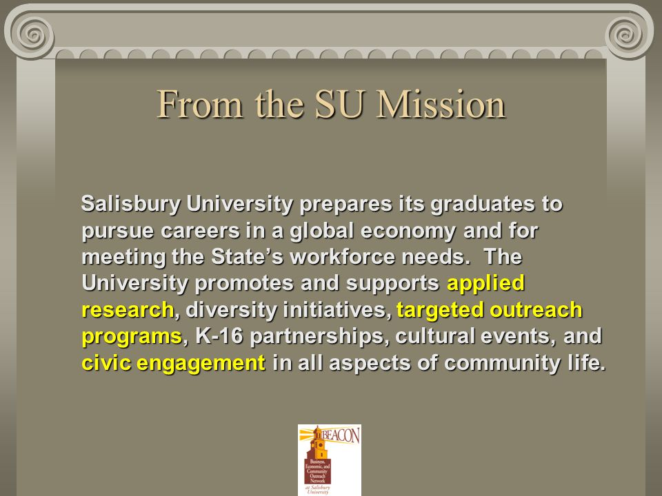 From the SU Strategic Plan GOAL A: Maintain a superior, active, and engaged learning community.