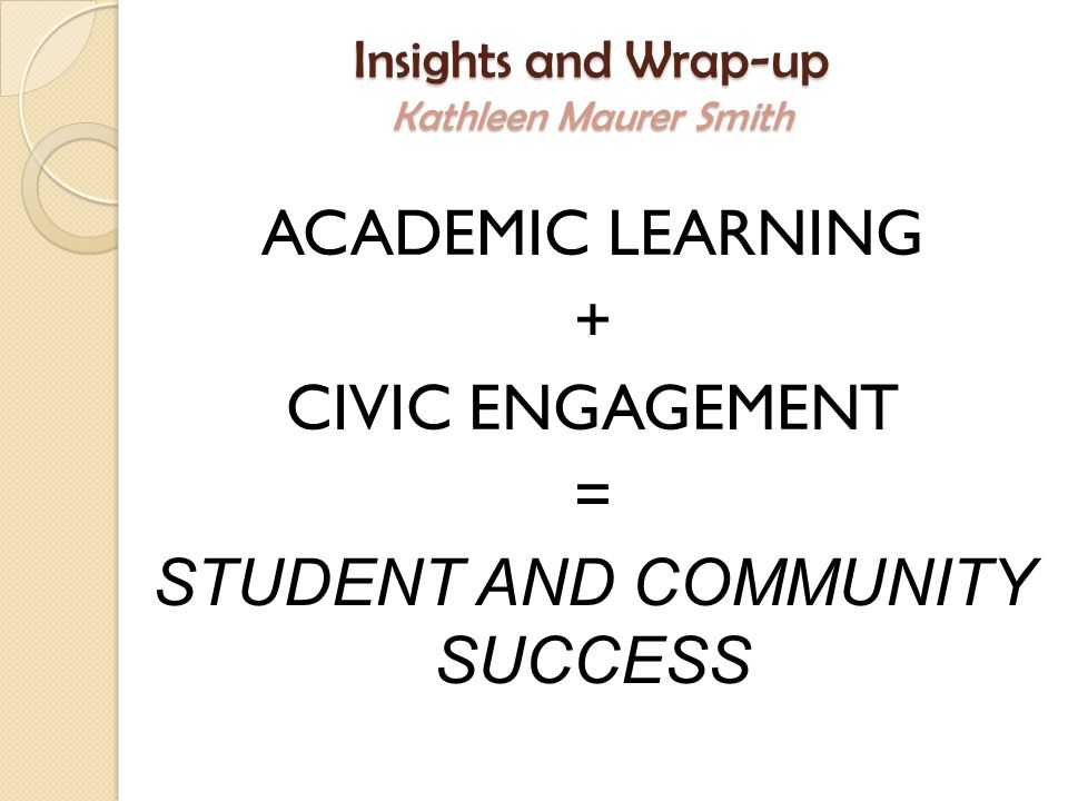 Insights and Wrap-up Kathleen Maurer Smith ACADEMIC LEARNING + CIVIC ENGAGEMENT = STUDENT AND COMMUNITY SUCCESS