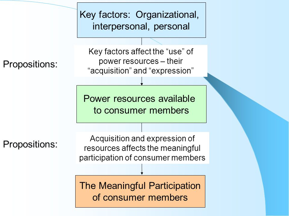 The Meaningful Participation of consumer members Key factors: Organizational, interpersonal, personal Power resources available to consumer members Propositions: Key factors affect the use of power resources – their acquisition and expression Propositions: Acquisition and expression of resources affects the meaningful participation of consumer members