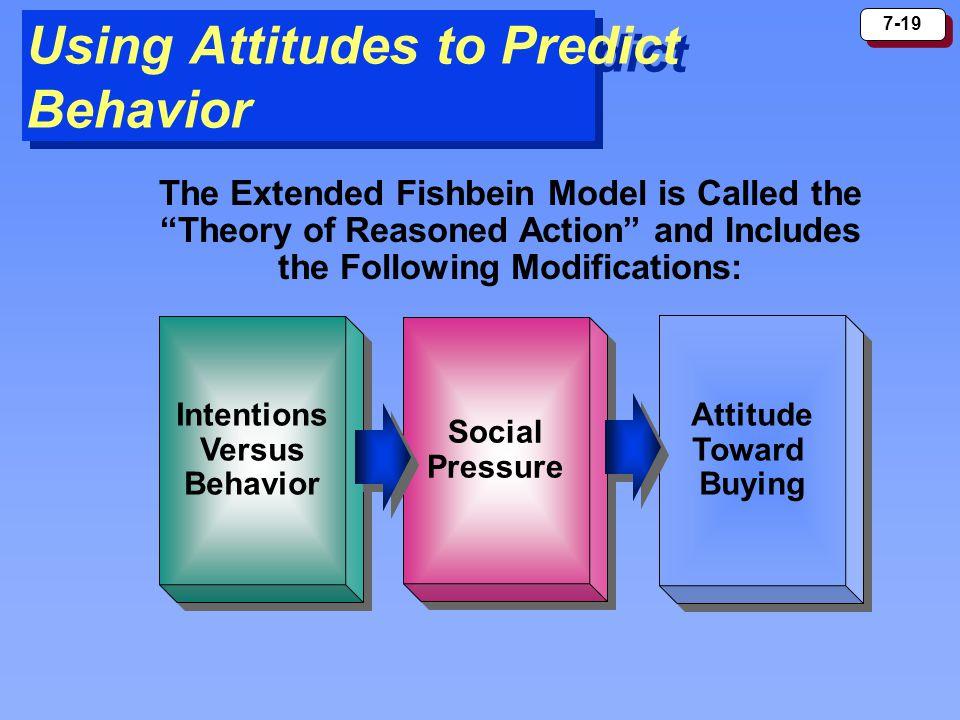 7-19 Using Attitudes to Predict Behavior Intentions Versus Behavior Intentions Versus Behavior Social Pressure Social Pressure Attitude Toward Buying