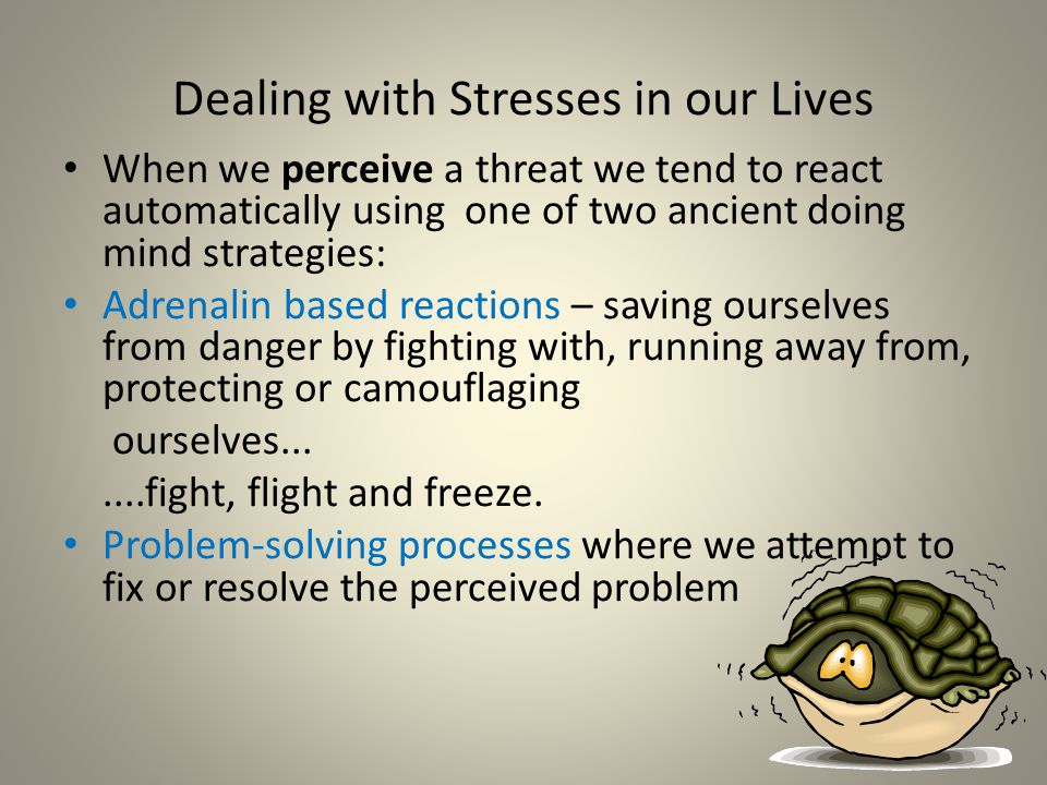 Dealing with Stresses in our Lives When we perceive a threat we tend to react automatically using one of two ancient doing mind strategies: Adrenalin based reactions – saving ourselves from danger by fighting with, running away from, protecting or camouflaging ourselves.......fight, flight and freeze.
