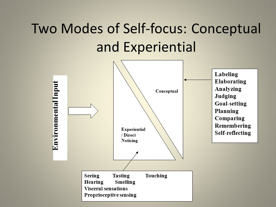 Two Modes of Self-focus: Conceptual and Experiential Conceptual Experiential / Direct Noticing Labeling Elaborating Analyzing Judging Goal-setting Pla