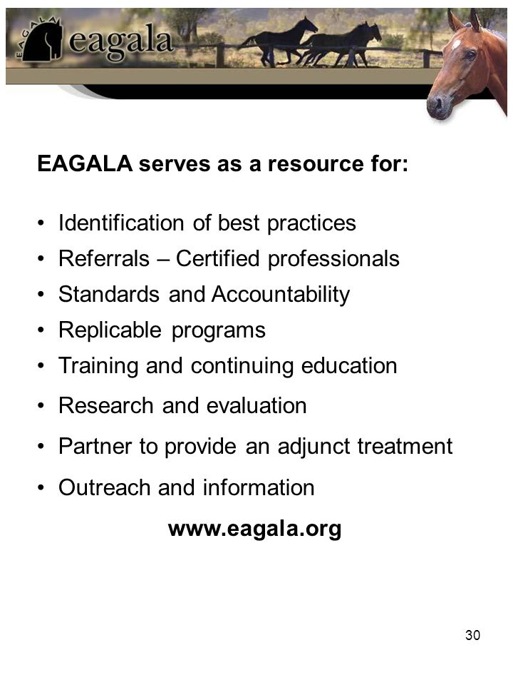 30 EAGALA serves as a resource for: Identification of best practices Referrals – Certified professionals Standards and Accountability Replicable progr