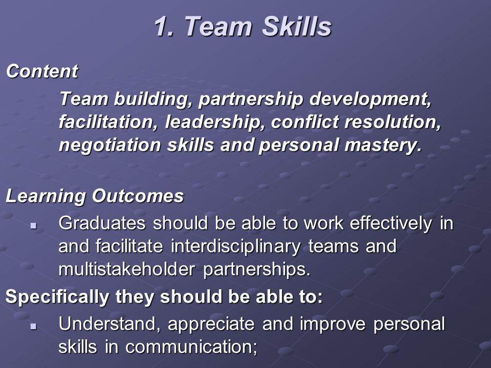1. Team Skills Content Team building, partnership development, facilitation, leadership, conflict resolution, negotiation skills and personal mastery.