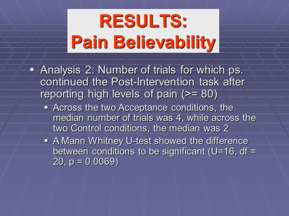  Analysis 2: Number of trials for which ps. continued the Post-Intervention task after reporting high levels of pain (>= 80)  Across the two Accepta