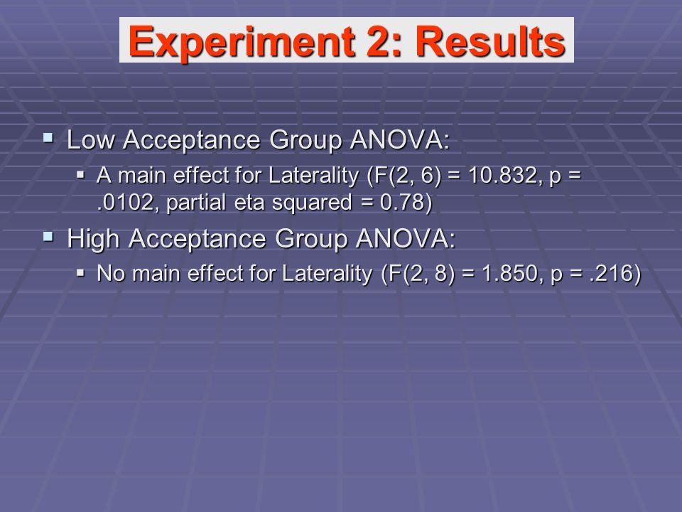  Low Acceptance Group ANOVA:  A main effect for Laterality (F(2, 6) = 10.832, p =.0102, partial eta squared = 0.78)  High Acceptance Group ANOVA:  No main effect for Laterality (F(2, 8) = 1.850, p =.216) Experiment 2: Results