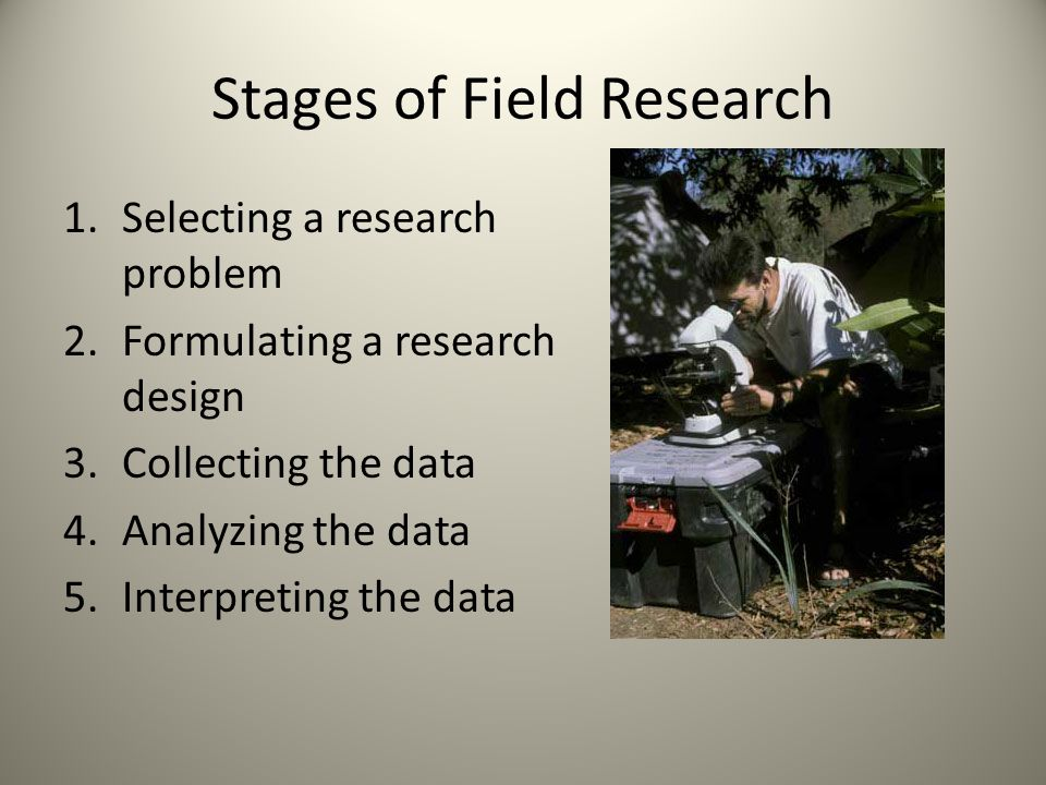 Stages of Field Research 1.Selecting a research problem 2.Formulating a research design 3.Collecting the data 4.Analyzing the data 5.Interpreting the data