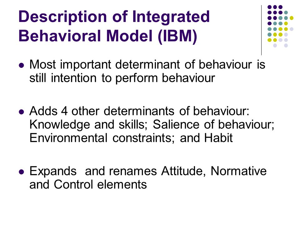 Definitions of new or changed constructs in IBM Experiential attitude: Affective evaluation of the behaviour Instrumental attitude: Cognitive evaluation of the behaviour Injunctive norm: Called subjective norm in TRA/TPB Descriptive norm: what others in one's social networks are doing