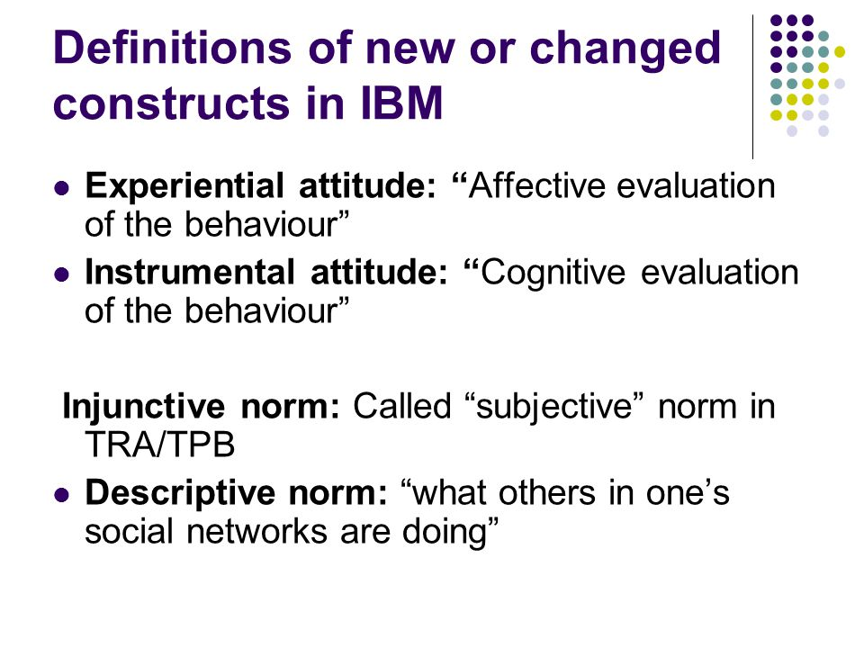 Definitions of new or changed constructs in IBM (Cont.) Personal agency: bringing one's influence to bear on one's own functioning and environmental events (Bandura, 2006) Self-efficacy: ones degree of confidence in the ability to perform the behavior in the face of various obstacles or challenges Feelings about behavior: Not defined Control beliefs: beliefs about the likelihood of occurrence of various constraining or facilitating conditions Efficacy Beliefs: perceived effect of these conditions in making behavior easy or difficult
