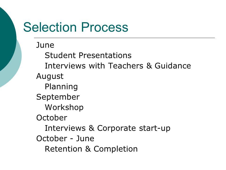Selection Process June Student Presentations Interviews with Teachers & Guidance August Planning September Workshop October Interviews & Corporate start-up October - June Retention & Completion
