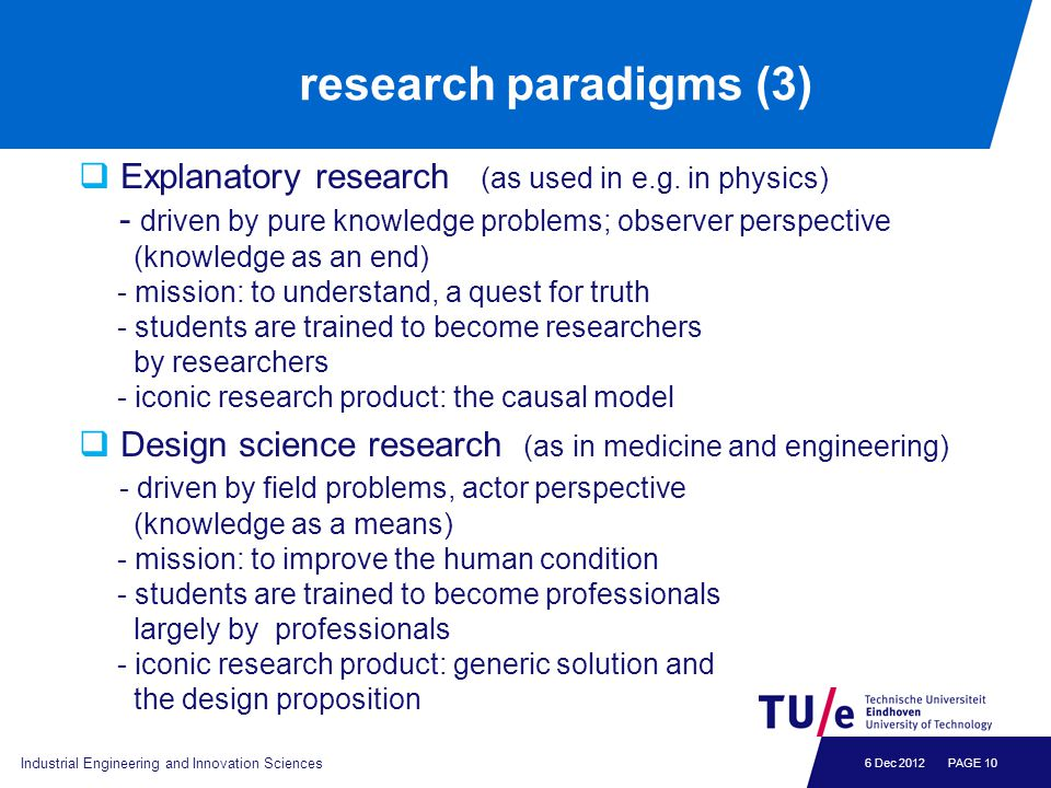 6 Dec 2012 research paradigms (3)  Explanatory research (as used in e.g. in physics) - driven by pure knowledge problems; observer perspective (knowl