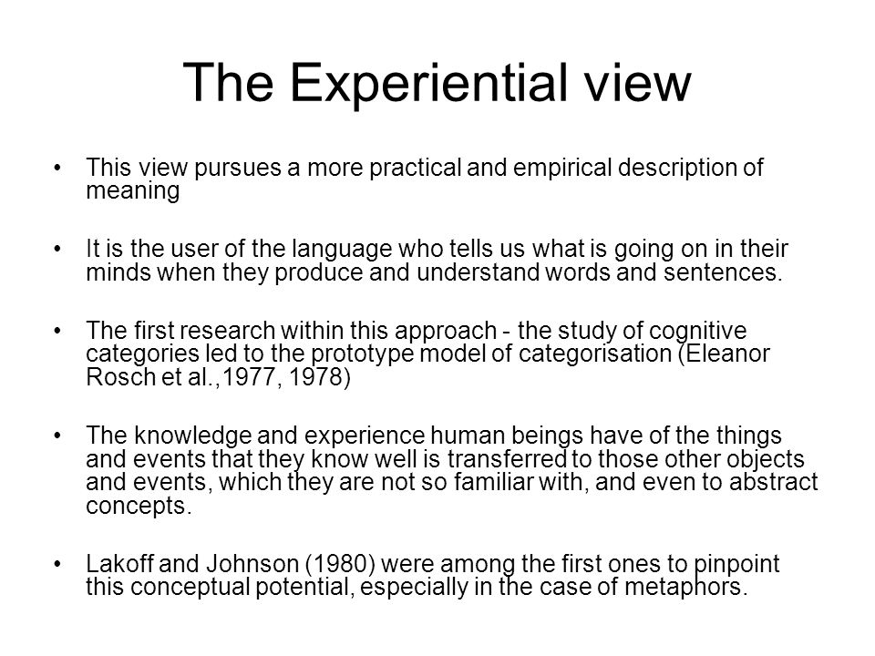Methodological Principles Human categorisation is one of the major issues in Linguistics.