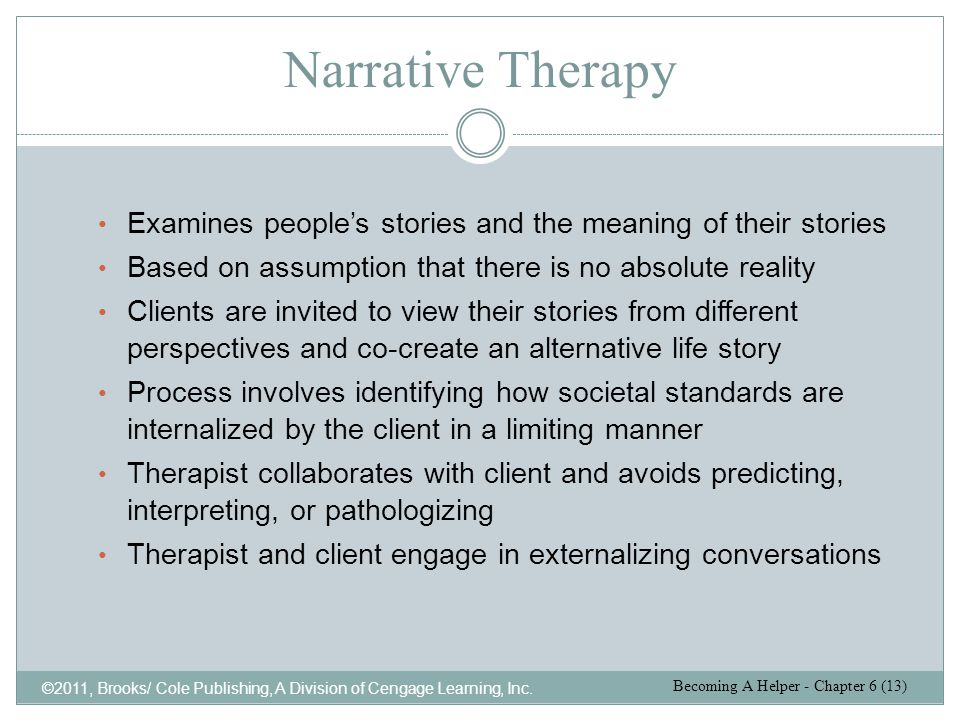 Narrative Therapy ©2011, Brooks/ Cole Publishing, A Division of Cengage Learning, Inc. Examines people's stories and the meaning of their stories Base