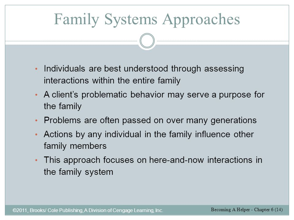Family Systems Approaches ©2011, Brooks/ Cole Publishing, A Division of Cengage Learning, Inc. Individuals are best understood through assessing inter
