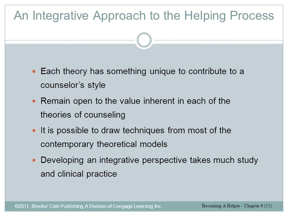 An Integrative Approach to the Helping Process ©2011, Brooks/ Cole Publishing, A Division of Cengage Learning, Inc. Each theory has something unique t