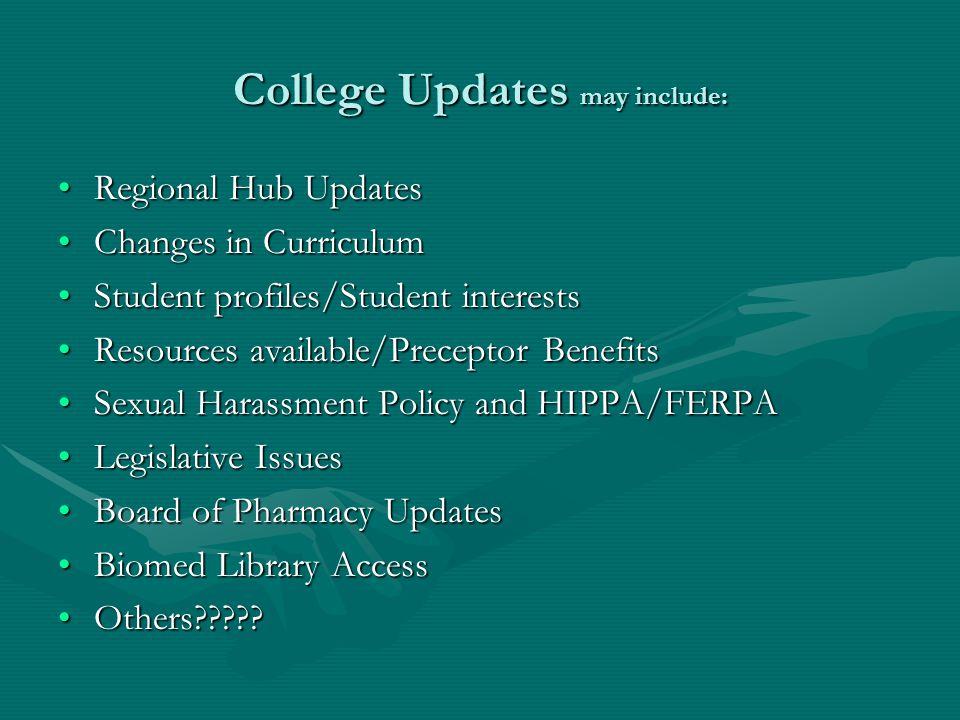 College Updates may include: Regional Hub UpdatesRegional Hub Updates Changes in CurriculumChanges in Curriculum Student profiles/Student interestsStu