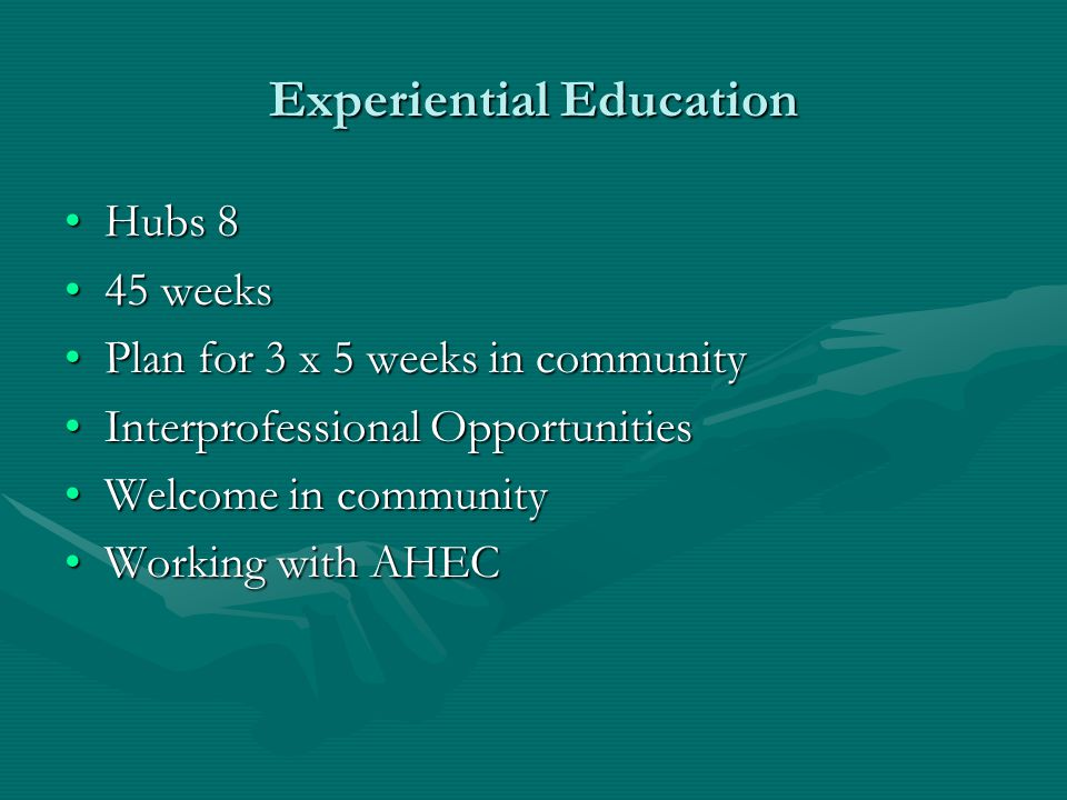 Experiential Education Hubs 8Hubs 8 45 weeks45 weeks Plan for 3 x 5 weeks in communityPlan for 3 x 5 weeks in community Interprofessional Opportunitie