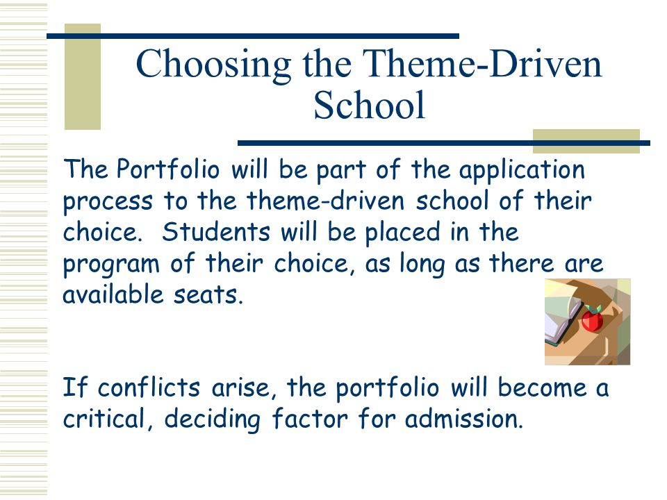 Choosing the Theme-Driven School The Portfolio will be part of the application process to the theme-driven school of their choice.