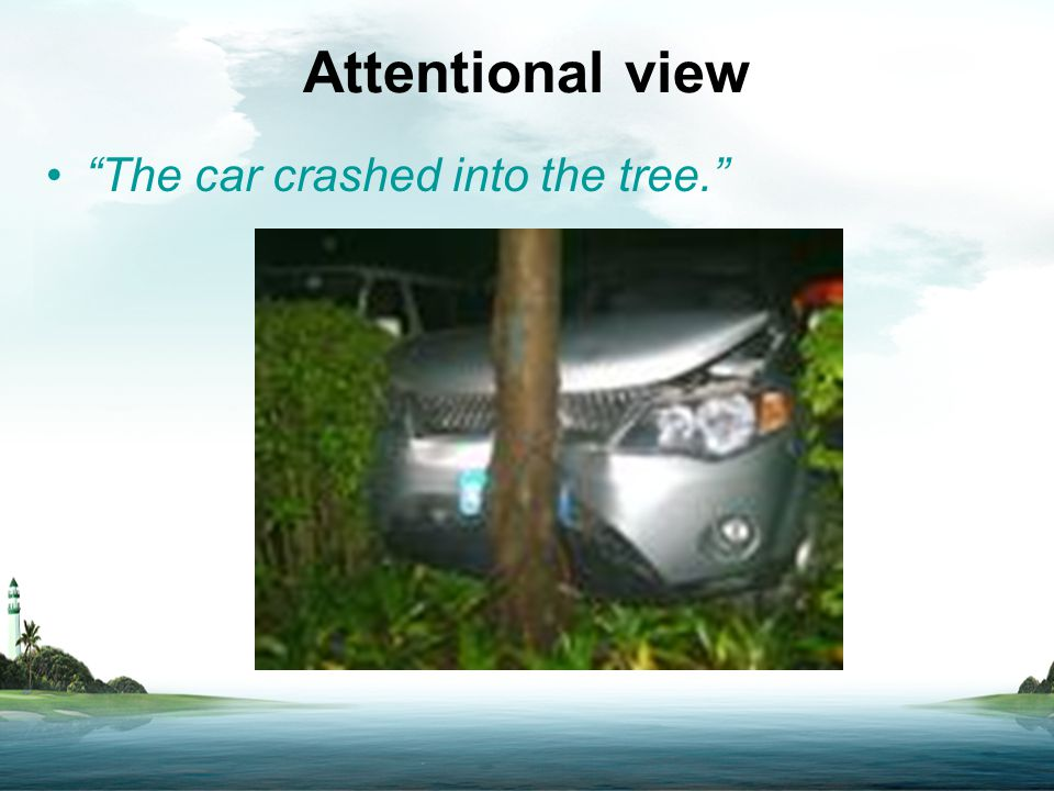 "Attentional view ""The car crashed into the tree."""