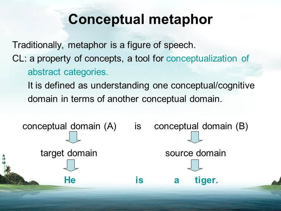Conceptual metaphor Traditionally, metaphor is a figure of speech. CL: a property of concepts, a tool for conceptualization of abstract categories. It