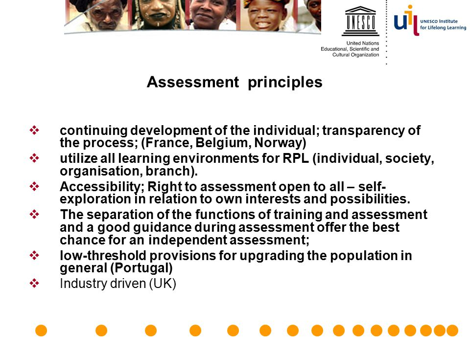 Assessment principles  continuing development of the individual; transparency of the process; (France, Belgium, Norway)  utilize all learning enviro