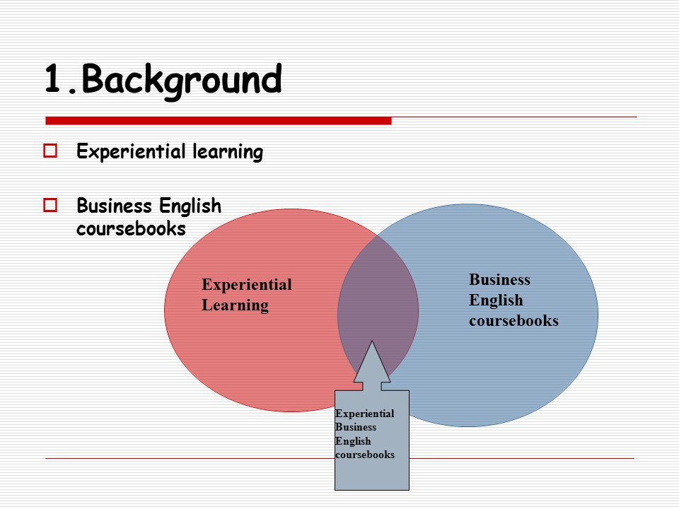1.Background  Experiential learning  Business English coursebooks Experiential Learning Business English coursebooks Experiential Business English coursebooks