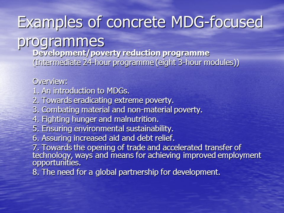 Examples of concrete MDG-focused programmes Development/poverty reduction programme (Intermediate 24-hour programme (eight 3-hour modules)) Overview: