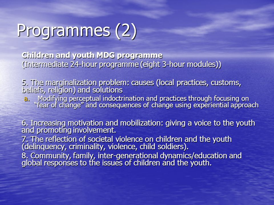 Programmes (2) Children and youth MDG programme (Intermediate 24-hour programme (eight 3-hour modules)) 5.