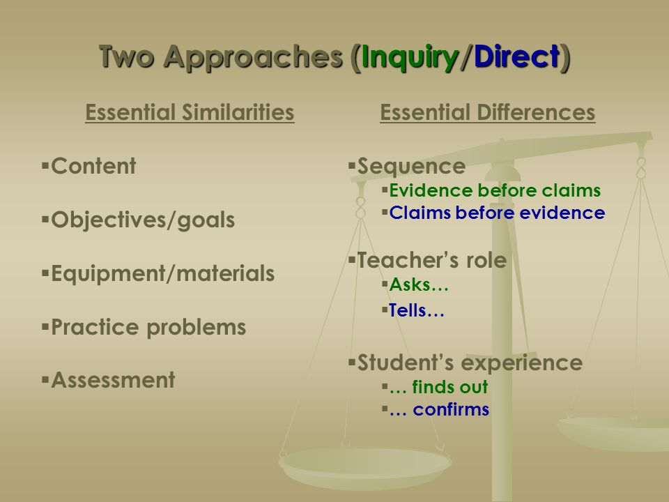 Two Approaches (Inquiry/Direct) Essential Similarities  Content  Objectives/goals  Equipment/materials  Practice problems  Assessment Essential D