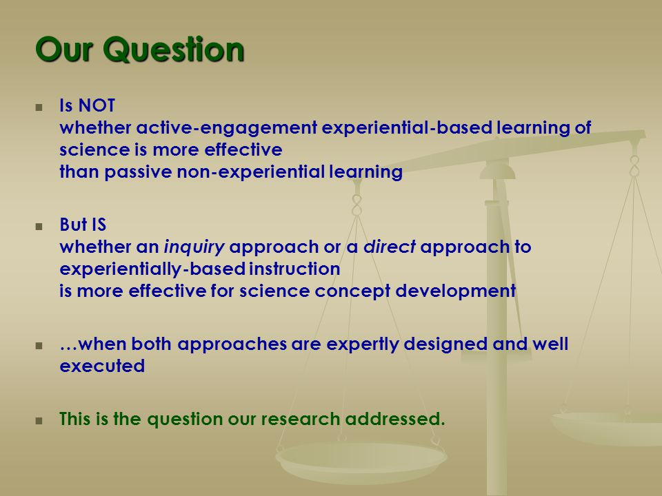 Inquiry-based Science Instruction There are now many inquiry-based curricula and lessons Their evaluations show these to be 'successful.' But compared to what.