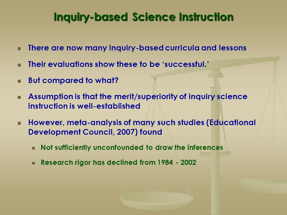 Threats to Validity of Studies Few controlled comparative studies Pitted against poor or nebulous 'traditional' instruction Few use randomized assignments or quasi-experimental controls for differences Evaluations not independent of developers or researchers Insufficient specification to allow replication Fidelity: implementation not compared to intended instruction