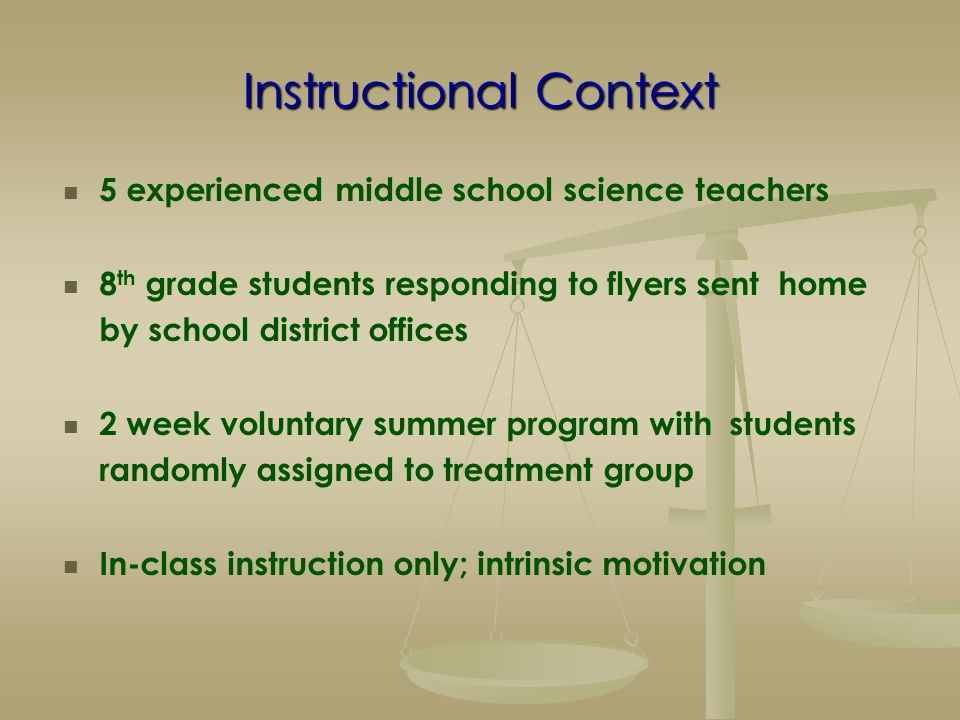 Instructional Context 5 experienced middle school science teachers 8 th grade students responding to flyers sent home by school district offices 2 wee