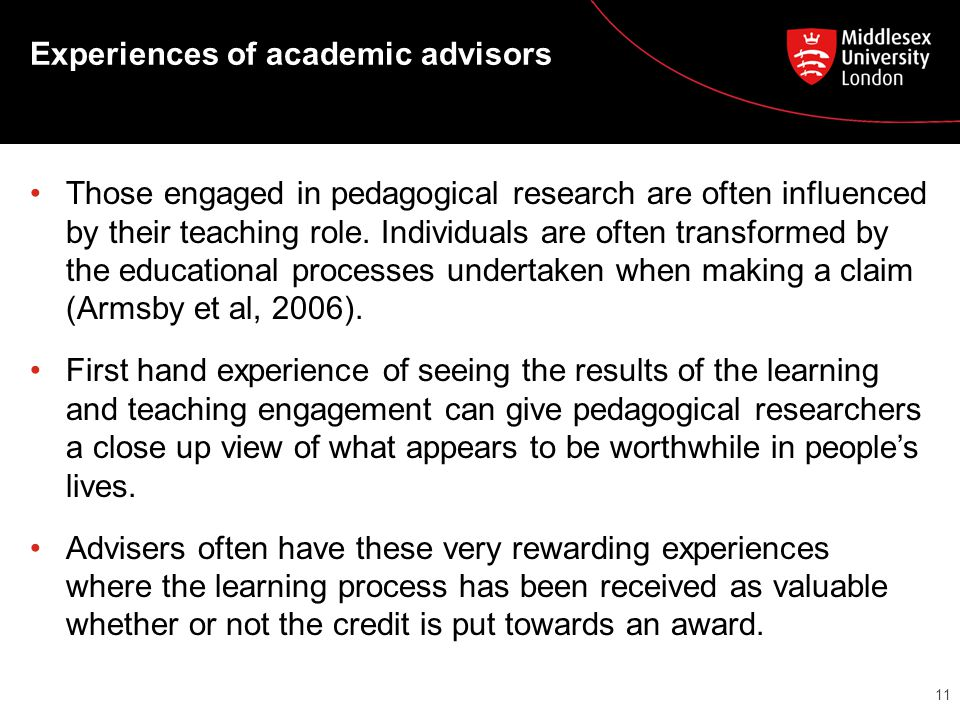Experiences of academic advisors Those engaged in pedagogical research are often influenced by their teaching role. Individuals are often transformed