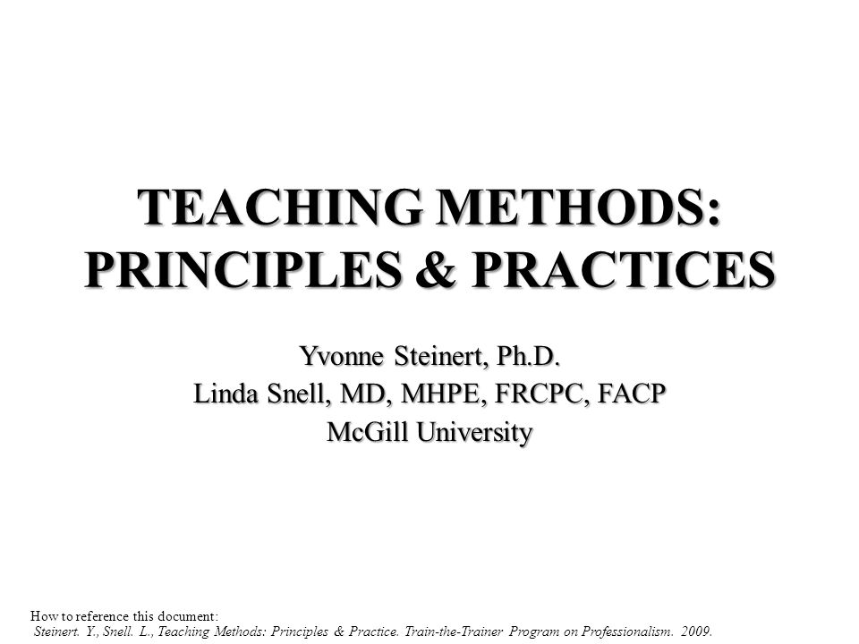 OBJECTIVES By the end of this session, participants will be able to: Outline general principles for teaching and learning professionalism Describe the key concepts of situated learning theory Identify principles of adult learning & instructional design Identify teaching methods/tools available in their settings Match teaching methods to objectives in their own settings
