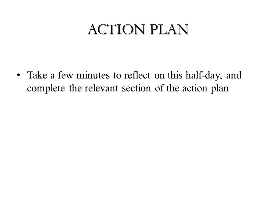 ACTION PLAN Take a few minutes to reflect on this half-day, and complete the relevant section of the action plan
