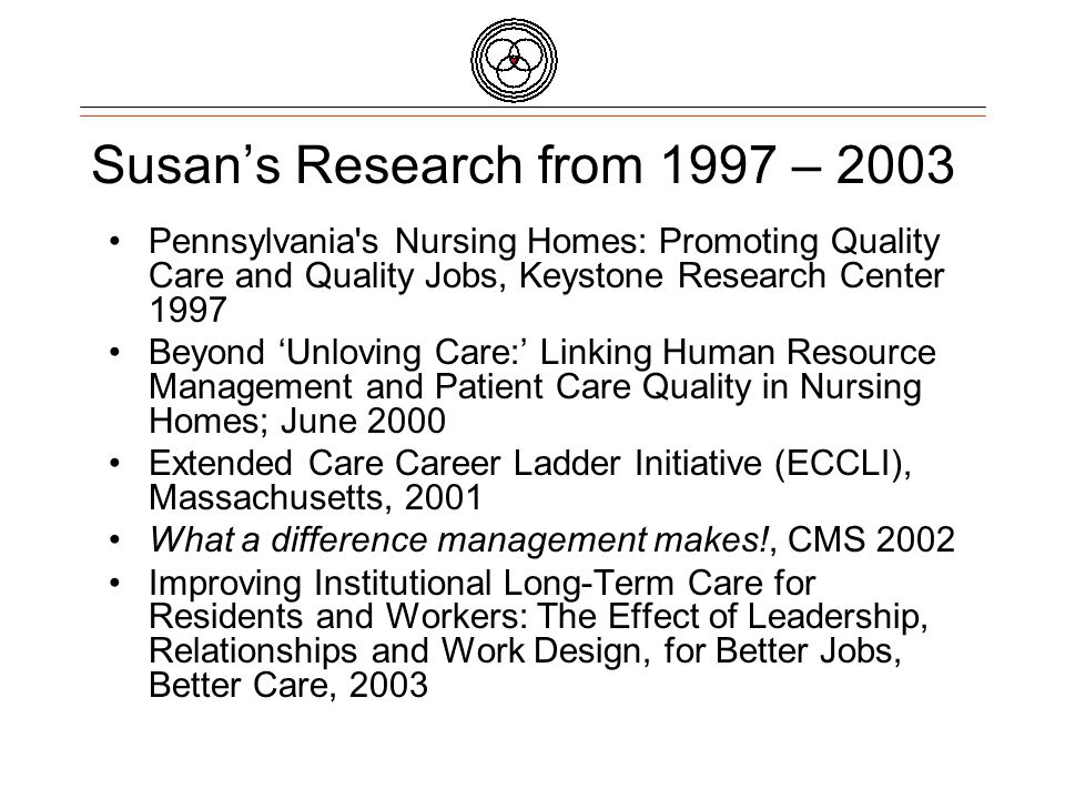 1997 Susan's research applied High Performance Human Resource Management Practices to Long-Term Care 200020012002 2003 PA Study links Quality Job and Quality Care Links Pioneer Practices with HR Management Practices Organizational Approach is key factor in success of Career Ladders Management is the Determinant in High and Low Turnover What leadership practices improve QJ & QC?