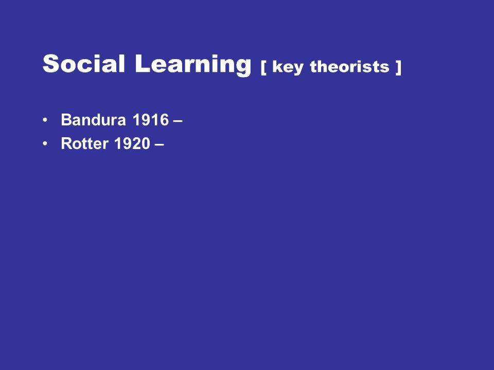 Social Learning [ key theorists ] Bandura 1916 – Rotter 1920 –