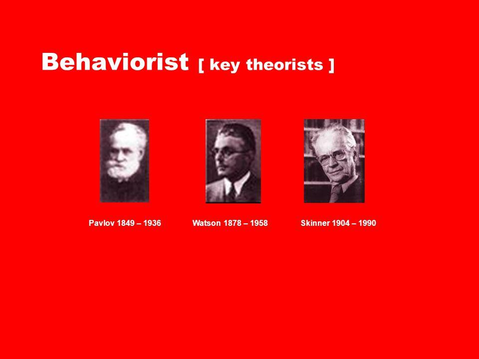 Behaviorist [ key theorists ] Pavlov 1849 – 1936Watson 1878 – 1958Skinner 1904 – 1990