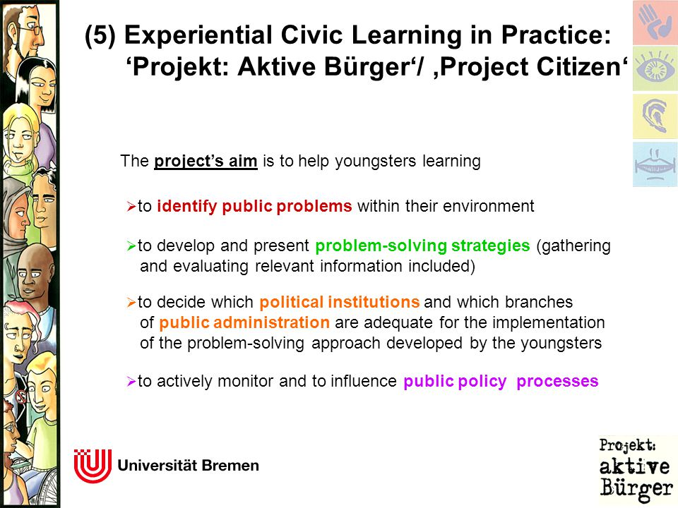 (5) Experiential Civic Learning in Practice: 'Projekt: Aktive Bürger'/ 'Project Citizen' The project's aim is to help youngsters learning  to identify public problems within their environment  to develop and present problem-solving strategies (gathering and evaluating relevant information included)  to decide which political institutions and which branches of public administration are adequate for the implementation of the problem-solving approach developed by the youngsters  to actively monitor and to influence public policy processes
