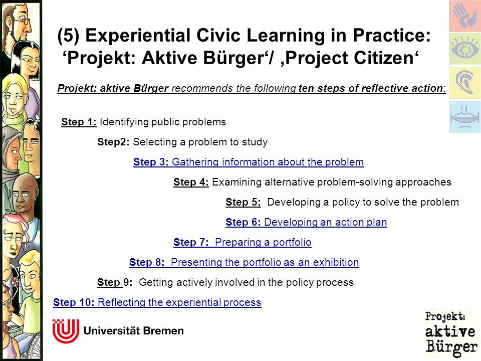(5) Experiential Civic Learning in Practice: 'Projekt: Aktive Bürger'/ 'Project Citizen' Projekt: aktive Bürger recommends the following ten steps of