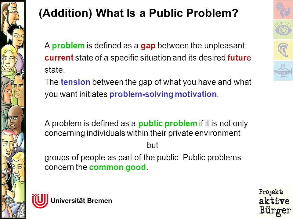 (Addition) What Is a Public Problem? A problem is defined as a gap between the unpleasant current state of a specific situation and its desired future