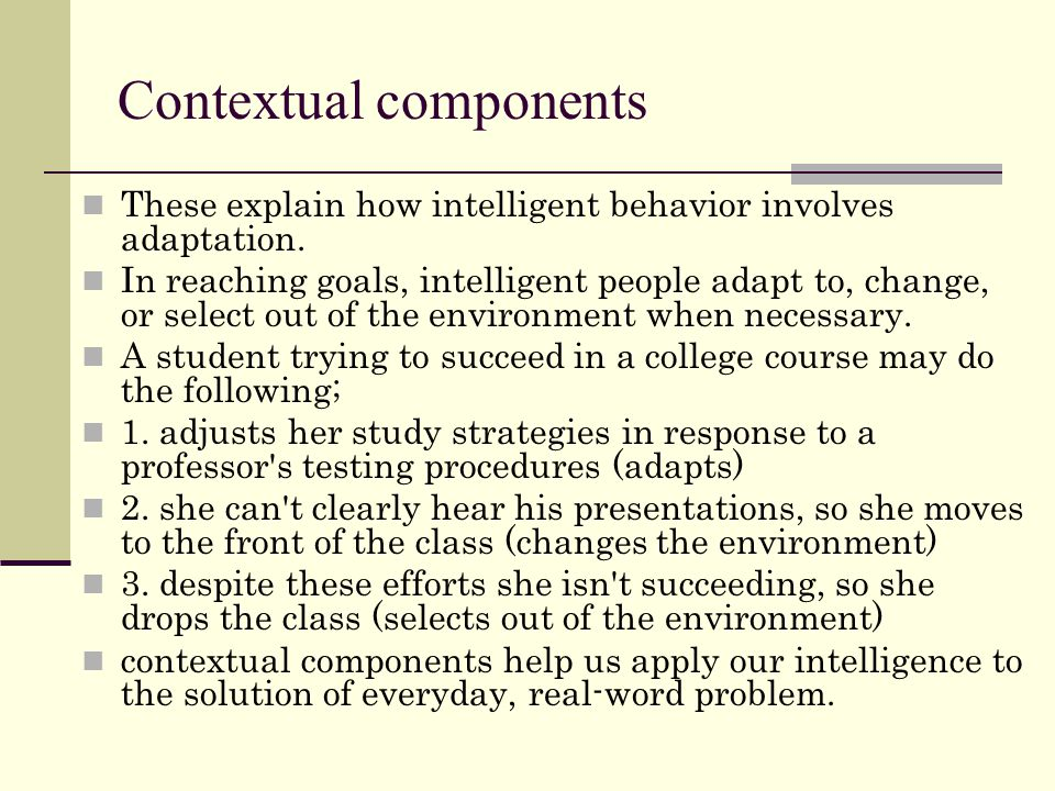 Contextual components These explain how intelligent behavior involves adaptation.