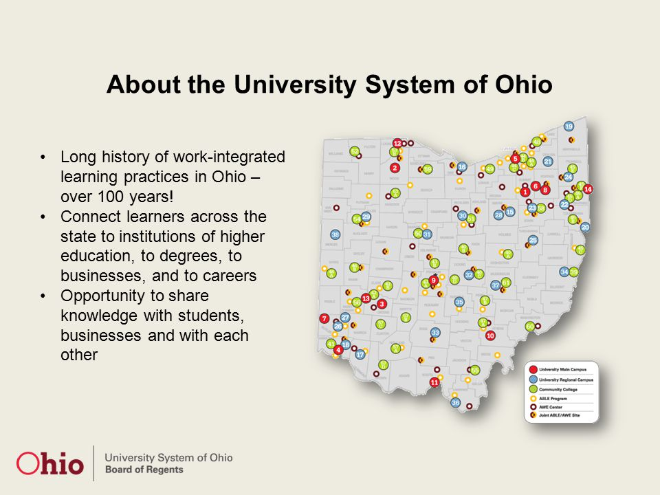 About the University System of Ohio Long history of work-integrated learning practices in Ohio – over 100 years.