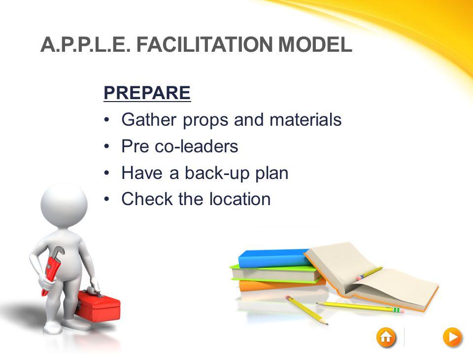 A.P.P.L.E. FACILITATION MODEL PREPARE Gather props and materials Pre co-leaders Have a back-up plan Check the location