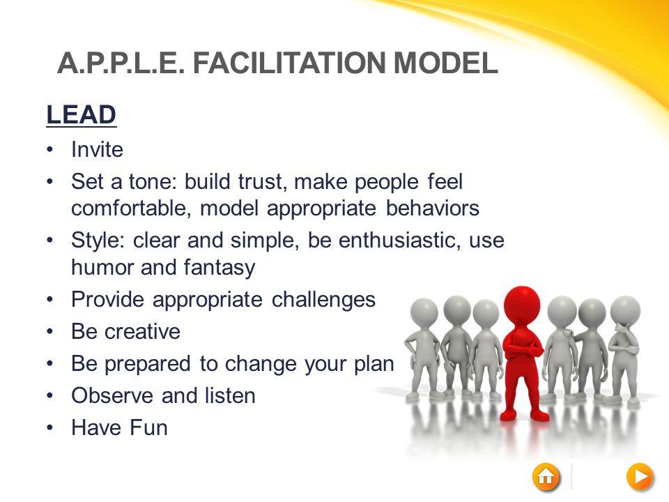 A.P.P.L.E. FACILITATION MODEL LEAD Invite Set a tone: build trust, make people feel comfortable, model appropriate behaviors Style: clear and simple,